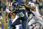 Tight end Jimmy Graham #88 of the Seattle Seahawks brings in a touchdown against the Buffalo Bills at CenturyLink Field on November 7, 2016 in Seattle, Washington.