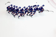 This image was created with multiple in-camera exposures) John Tavares #91 of the New York Islanders skates in warm-ups prior to the game against the Buffalo Sabres at the Nassau Veterans Memorial Coliseum on April 4, 2015 in Uniondale, New York. The Islanders shut out the Sabres 3-0.
