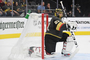 Marc-Andre Fleury #29 of the Vegas Golden Knights takes a break during a stop in play in the second period of a game against the Buffalo Sabres at T-Mobile Arena on October 16, 2018 in Las Vegas, Nevada. The Golden Knights defeated the Sabres 4-1.