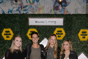 Olivia Donnan, Global Brand Marketing at moxy Hotels, Wells Adams, Andee Olson, Director of Partnerships at Bumble, and Brandi Cyrus attend the BumbleSpot #atthemoxy launch at moxy Chicago Downtown on November 15, 2018 Chicago, Illinois.