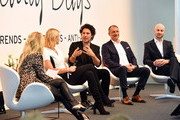 (L-R) Host Jennifer Knaeble, businesswoman Natascha Gruen, make-up artist Boris Entrup, cosmetic surgeon Dr. Markus Kloeppel and hairdresser Stefan M. Pauli attend the Bunte Beauty Days at Messe Muenchen on October 28, 2017 in Munich, Germany.