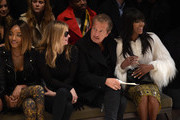 (L-R) Jourdan Dunn, Kate Moss, Mario Testino and Naomi Campbell attend the Burberry Prorsum AW 2015 show during London Fashion Week at Kensington Gardens on February 23, 2015 in London, England.