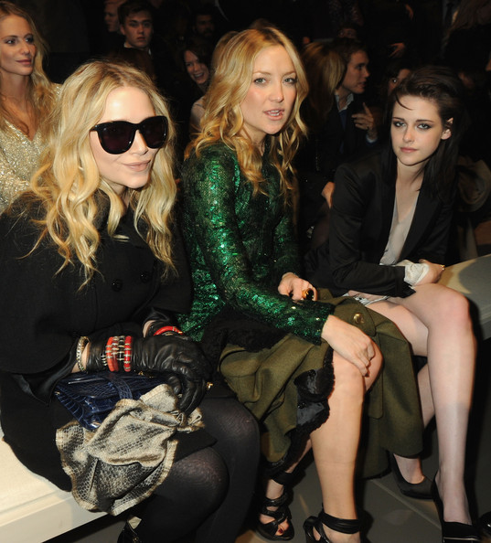 Mary-Kate Olsen, Kate Hudson and Kristen Stewart attends the Burberry Prorsum LFW Autumn/Winter 2010 Women?s wear show at the Parade Ground, Chelsea College of Art on February 23, 2010 in London, England.