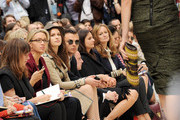 Tali Lennox, Theo Hutchcraft and Lucy Yeomans attend at the Burberry Spring Summer 2012 Womenswear Show at Kensington Gardens on September 19, 2011 in London, England.