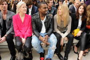 (L to R) Dan Gillespie, Ellie Goulding, Kanye West, Sienna Miller and Gemma Arterton attend at the Burberry Spring Summer 2012 Womenswear Show at Kensington Gardens on September 19, 2011 in London, England.