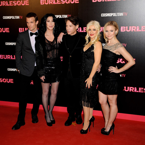 "(L-R) Actor Cam Gigandet, Cher, director Steven Antin, Christina Aguilera and Kristen Bell attend ""Burlesque"" premiere at Callao cinema on December 9, 2010 in Madrid, Spain."