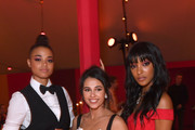 (L-R) Ella Balinska, Naomi Scott and Jourdan Dunn attend the gala dinner in honour of Edward Enninful, winner of the Global VOICES Award 2019, during #BoFVOICES on November 22, 2019 in Oxfordshire, England.