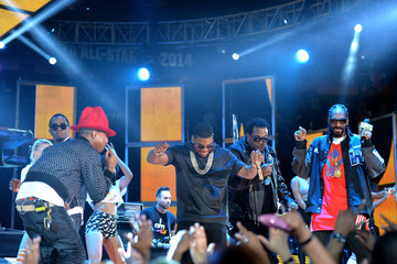 Busta Rhymes Pharrell Williams Celebrities Attend The 63rd NBA All-Star Game 2014
