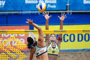 Agatha (L) and Juliana (R) in action during theCBBVP Open Beach Volleyball - Finalat Enseada Beach on November 17, 2013 in Guaruja, Brazil.