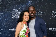 "(L-R) Zabryna Guevara and  Sterling K. Brown attend CBS All Access new series ""The Twilight Zone"" premiere at the Harmony Gold Preview House and Theater on March 26, 2019 in Hollywood, California."