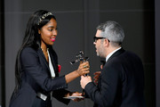 Jessica Williams and Brandon Maxwell appear onstage during the CFDA Fashion Awards at the Brooklyn Museum of Art on June 03, 2019 in New York City.