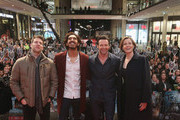 Director Neill Blomkamp, actor Dev Patel, actor Hugh Jackman and actress Sigourney Weaver attend a fan event for the film 'CHAPPIE' at Mall of Berlin on February 27, 2015 in Berlin, Germany.
