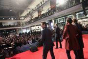 Actor Hugh Jackman, actor Dev Patel and actress Sigourney Weaver attend a fan event for the film 'CHAPPIE' at Mall of Berlin on February 27, 2015 in Berlin, Germany.