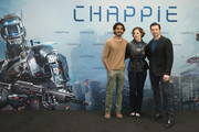 (From L to R) Actor Dev Patel, actress Sigourney Weaver and actor Hugh Jackman attend a photo call for the film 'CHAPPIE' at Hotel De Rome on February 27, 2015 in Berlin, Germany.