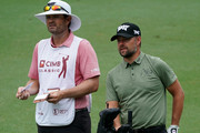 Ryan Moore of United States and his caddie waits during the second round of the CIMB Classic at TPC Kuala Lumpur on October 12, 2018 in Kuala Lumpur, Malaysia.