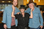 Beau Grayson Tucker, artist Tanya Tucker and singer-songwriter Billy Joe Shaver attend the CMHOF Outlaws and Armadillos VIP Opening Reception on May 24, 2018 in Nashville, Tennessee.