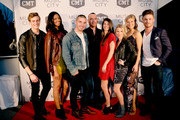 """Bryant Lowry, Alisa Beth, Kerry Degman, prodicer Adam DiVello, Rachyl Degman; Jessica Mack, Sarah Thomas and Jackson Boyd attend CMT's """"Music City"""" premiere party on February 20, 2018 in Nashville, Tennessee."""