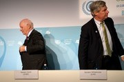 US Senator Ben Cardin (L) and Sheldon Whitehouse leave a press conference on November 11, 2017 during the COP23 United Nations Climate Change Conference in Bonn, Germany. / AFP PHOTO / PATRIK STOLLARZ