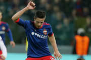 Roman Eremenko of PFC CSKA Moskva vies for the ball with Aaron Ramsey of Arsenal FC during the UEFA Europa League quarter final leg two match between PFC CSKA Moskva and Arsenal FC at CSKA Arena stadium on April 12, 2018 in Moscow, Russia.