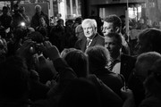 Image shot in black and white. Color version not available).  Horst Seehofer, Chairman of the Bavarian Social Union (CSU), speaks to the media as he arrives for a meeting of the CSU leadership at party headquarters on October 15, 2018 in Munich, Germany. The CSU faired poorly in the election, winning 37.2% of the vote, 10.5 votes fewer than in the last election. The CSU has long been Bavaria's strongest party but will now face the arduous task of forming a state government coalition.
