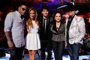 "(L-R) Singer/mentor Nelly, host Allison Hagendorf, singers/mentors Joe Jonas, Gloria Estefan and John Rich appear onstage at a taping of The CW's ""The Next"" at the Orpheum Theatre on August 15, 2012 in Los Angeles, California."