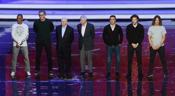 Final Draw for the 2018 FIFA World Cup Russia - Previews [photo,formal wear,event,team,suit,performance,cafu,diego forlan,fabio cannavaro,nikita simonyan,draw,l-r,russia,gordon banks,2018 fifa world cup]