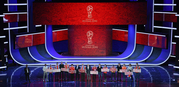 Final Draw for the 2018 FIFA World Cup Russia - Previews [stage,display device,sport venue,electronic signage,cafu,diego forlan,fabio cannavaro,carles puyol,nikita simonyan,laurent blanc,draw,l-r,russia,2018 fifa world cup]