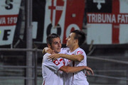 Stephan El Shaarawy (R) of Padova celebrates after scoring the opening goal with Francesco Renzetti during the Serie B match between Padova and Reggina at Stadio Euganeo on September 10, 2010 in Padova, Italy.