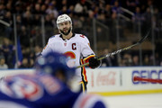 Mark Giordano #5 of the Calgary Flames reacts late in the third period against the New York Rangers during their game at Madison Square Garden on February 9, 2018 in New York City.