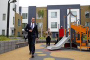 California Lt. Gov. and California gubernatorial candidate Gavin Newsom walks through a playground as he visits the Alice Griffith Apartments on August 22, 2018 in San Francisco, California. Lt. Gov. Gavin Newsom and San Francisco mayor London Breed toured a low-income housing complex. Newsom leads Republican gubernatorial candidate John Cox by an average of 23 percentage points in recent polls.