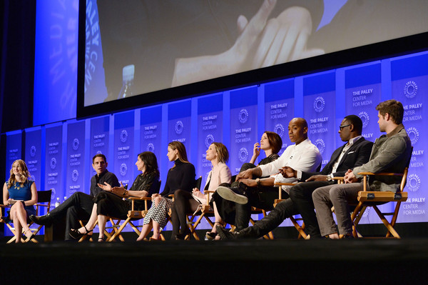 The Paley Center For Media's 33rd Annual PaleyFest Los Angeles - 'Supergirl' - Inside [supergirl,event,convention,academic conference,sky,performance,auditorium,audience,team,stage,leanne aguilera,actors,executive producers,melissa benoist,calista flockhart,l-r,los angeles,paleyfest,paley center for media]