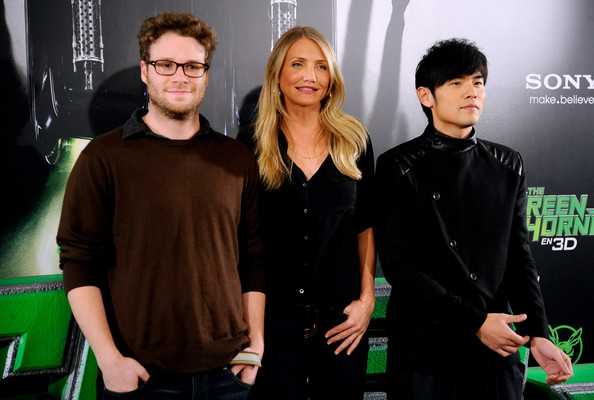 "(L to R) Actor Seth Rogen, actress Cameron Diaz and actor Jay Chou attend ""The Green Hornet"" photocall at Villamagna Hotel on December 2, 2010 in Madrid, Spain."