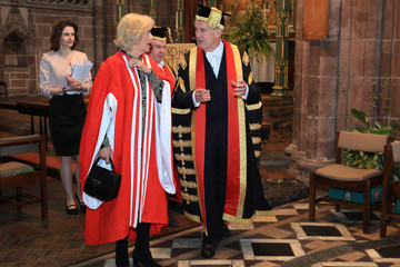 Camilla Parker Bowles Gyles Brandreth The Duchess Of Cornwall Attends The University Of Chester Graduation Ceremony