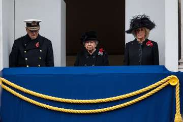 Camilla Parker Bowles The Royal Family Lay Wreaths at the Cenotaph on Remembrance Sunday