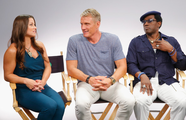 'The Expendables 3' Event at Comic-Con [movies,the expendables 3,interviews,people,sitting,social group,fun,family taking photos together,event,conversation,team,leisure,family pictures,camille ford,actors,dolph lundgren,wesley snipes,l-r,san diego,comic-con]