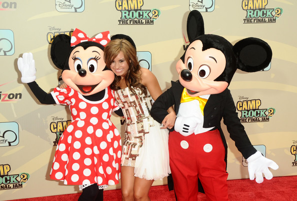 "(L-R) Minnie Mouse, Demi Lovato and Mickey Mouse attend the premiere of ""Camp Rock 2: The Final Jam"" at Alice Tully Hall, Lincoln Center on August 18, 2010 in New York City."