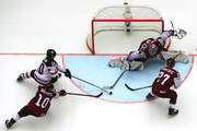 Kristers Gudlevskis, goaltender of Latvia tends net against Bryaden Schenn #10 of Canada during the 2018 IIHF Ice Hockey World Championship Group B game between Canada and Latvia at Jyske Bank Boxen on May 14, 2018 in Herning, Denmark.