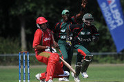 Maurice Ouma of Kenya celebrates after taking the wicket of Geoff Barnett of Canada during the ICC World Cricket League Division One match between Canada and Kenya at the Excelsior Cricket Club on July 9, 2010 in Schiedam, Netherlands.