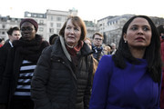 """Labour MP Harriet Harman (C) attends a candlelit vigil at Trafalgar Square on March 23, 2017 in London, England. Four People were killed in Westminster, London, yesterday in a terrorist attack by """"lone wolf"""" killer Khalid Masood, 52. Three of the victims have been named as PC Keith Palmer, US tourist Kurt Cochran from Utah and Mother of two Aysha Frade."""