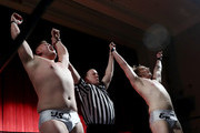 The Classics duo of Tyler Stone and Eric Martin celebrate the win during Capitol Wrestling World War IV on December 29, 2017 at Capitol Auditorium in Hoboken, New Jersey.