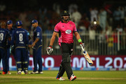 Jacques Kallis of Libra Legends walks off after being dismissed during the Oxigen Masters Champions League match between Capricorn Commanders and Libra Legends on February 5, 2016 in Sharjah, United Arab Emirates.