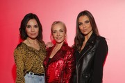 Nadine Warmuth, Janin Ullmann, Laura Wontorra attend the launch event for the new Capsule Collection Neymar Jr. x Replay at Weltstadthaus on February 13, 2020 in Duesseldorf, Germany.