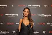 Joan Smalls attends the launch event for the new Capsule Collection Neymar Jr. x Replay at Weltstadthaus on February 13, 2020 in Duesseldorf, Germany.
