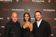 John Cloppenburg, Joan Smalls and CEO of Replay Matteo Sinigaglia attend the launch event for the new Capsule Collection Neymar Jr. x Replay at Weltstadthaus on February 13, 2020 in Duesseldorf, Germany.