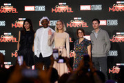 (L-R) Gemma Chan, Samuel L. Jackson, Brie Larson, Anna Boden and Ryan Fleck attend the press conference for 'Captain Marvel' at Marina Bay Sands Expo and Convention Centre on February 14, 2019 in Singapore.