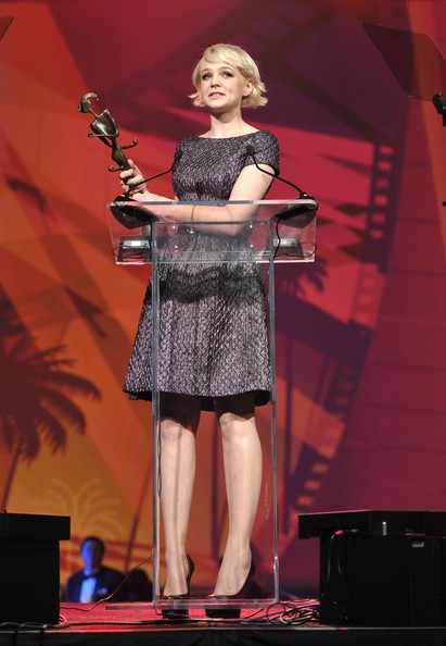 "Carey Mulligan Actress Carey Mulligan accepts the ""Breakthrough Performance Award"" onstage during the 22nd Annual Palm Springs International Film Festival Awards Gala at the Palm Springs Convention Center on January 8, 2011 in Palm Springs, California."