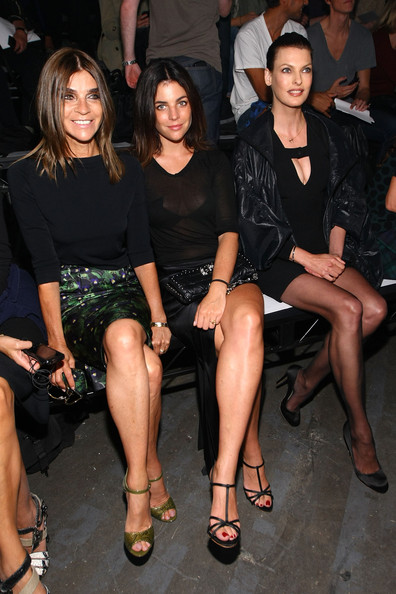 Alexander Wang - Front Row - Spring 2012 Mercedes-Benz Fashion Week [fashion,leg,event,thigh,little black dress,fashion model,dress,human body,fashion show,fashion design,alexander wang,carine roitfeld,julia restoin-roitfeld,linda evangelista,front row,pier 94,new york city,mercedes-benz fashion week,fashion show]