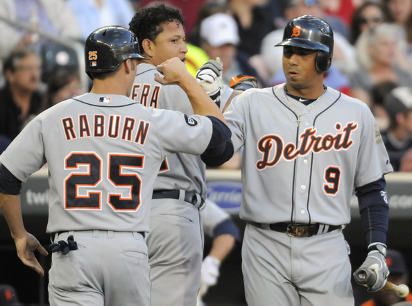 Detroit Tigers v Minnesota Twins [baseball uniform,baseball player,team sport,player,tournament,sports,sports uniform,ball game,college baseball,baseball,carlos guillen 9,miguel cabrera,ryan raburn,minneapolis,minnesota,target field,detroit tigers,minnesota twins,inning,game]