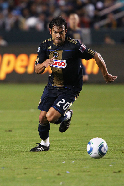 Carlos Ruiz Carlos Ruiz #20 of the Philadelphia Union defends against the Los Angeles Galaxy during the Philadelphia Union v Los Angeles Galaxy Match at The Home Depot Center on April 2, 2011 in Carson, California.