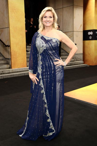 Red Carpet Arrivals - GQ Men Of The Year Award 2019 [red carpet arrivals,komische oper,clothing,dress,blue,gown,cobalt blue,lady,shoulder,formal wear,fashion,beauty,berlin,germany,gq men of the year award,gq men of the year award,carola ferstl]